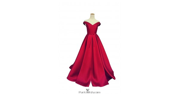 Satin A Line Off The Shoulder Red Ball Gown Prom Dresses