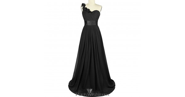 Sweetheart Chiffon One Shoulder Black Bridesmaid Dress Plus Size ...