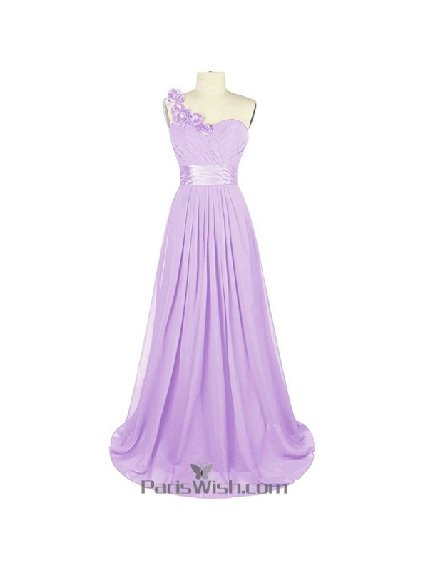 Sweetheart Chiffon One Shoulder Lavender Bridesmaid Dress Plus Size ...