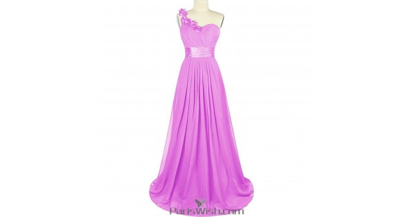 Sweetheart Chiffon One Shoulder Lilac Bridesmaid Dress Plus Size Prom  Dresses