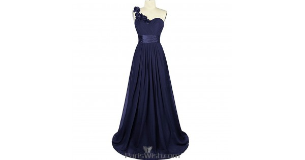 Sweetheart Chiffon One Shoulder Navy Blue Bridesmaid Dress Plus Size