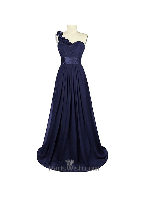 Sweetheart Chiffon One Shoulder Navy Blue Bridesmaid Dress Plus Size ...