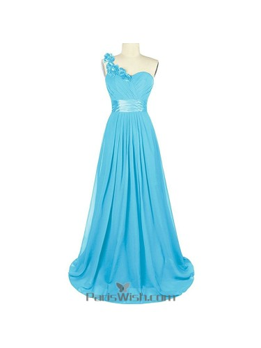 Sweetheart Chiffon One Shoulder Pool Bridesmaid Dress Plus Size Prom ...