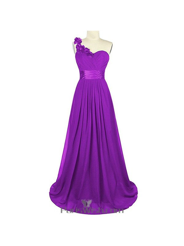 Sweetheart Chiffon One Shoulder Purple Bridesmaid Dress Plus Size ...
