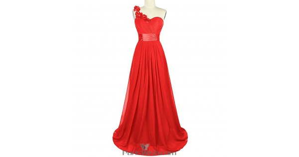 Sweetheart Chiffon One Shoulder Red Bridesmaid Dress Plus Size Prom ...