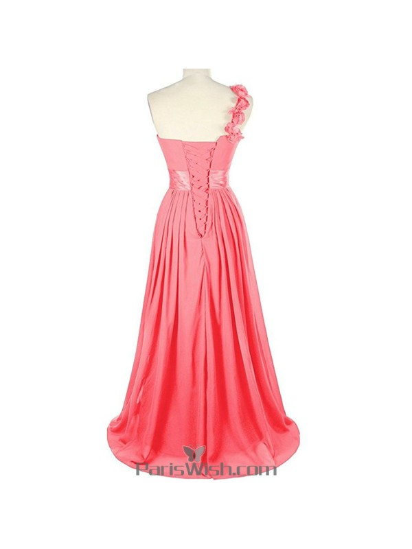 Sweetheart Chiffon One Shoulder Water Melon Bridesmaid Dress Plus ...