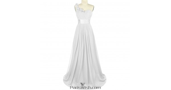 Sweetheart Chiffon One Shoulder White Bridesmaid Dress Plus Size Prom  Dresses
