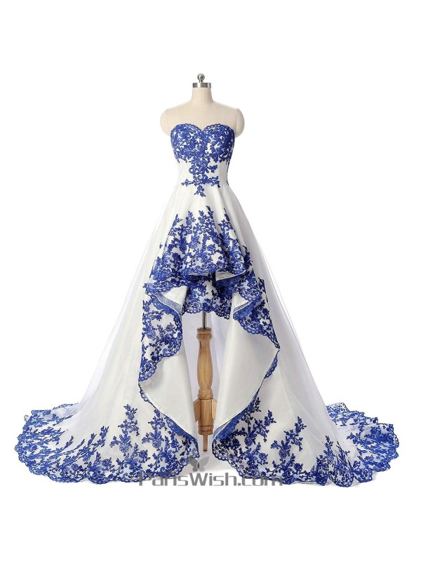 Sweetheart Embroidery White And Blue Prom Gowns High Low Wedding Dresses