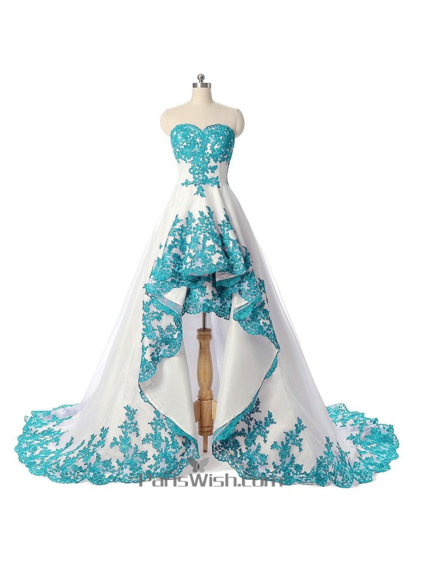 Sweetheart embroidery white and blue prom gowns high low wedding dresses junglespirit Gallery