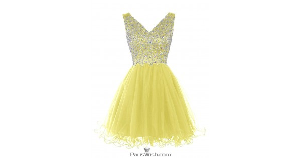 Tulle A Line Beaded Yellow Homecoming Dresses Short Prom Dress