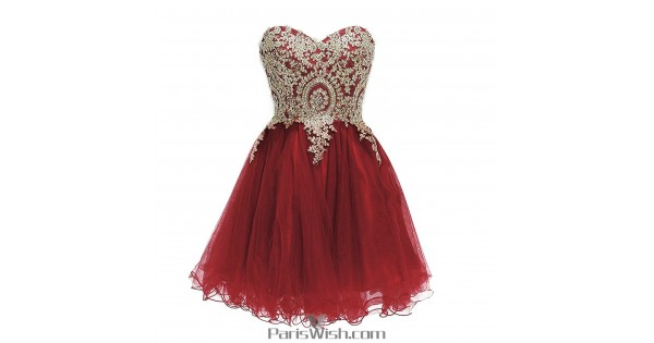 Tulle Embroidered Burgundy With Gold Plus Size Homecoming Dresses Short  Prom Dress
