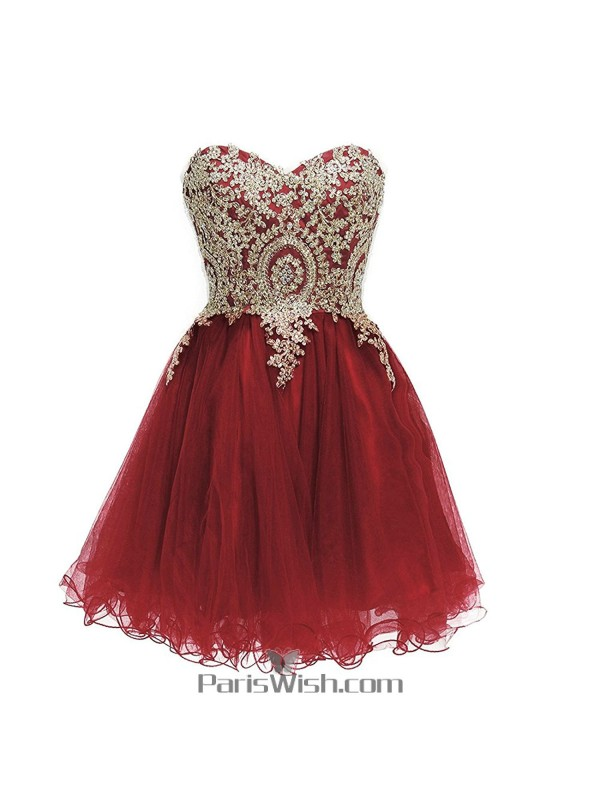 Tulle Embroidered Burgundy With Gold Plus Size Homecoming Dresses ...