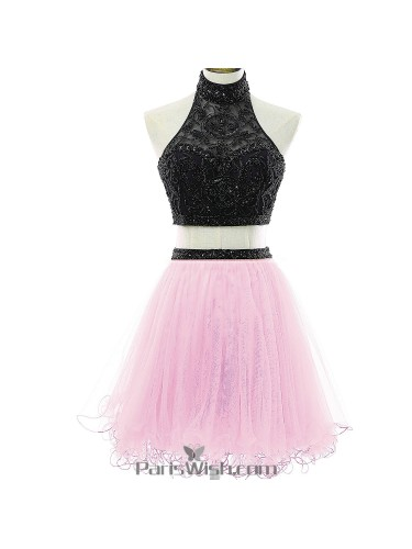 da27d4e9785 Tulle Halter Top Sequin Black And Pink Two Piece Homecoming Dresses