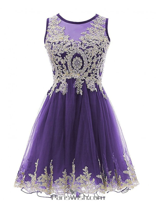 Tulle Illusion Embroidered Black Plus Size Homecoming Dress Short ...