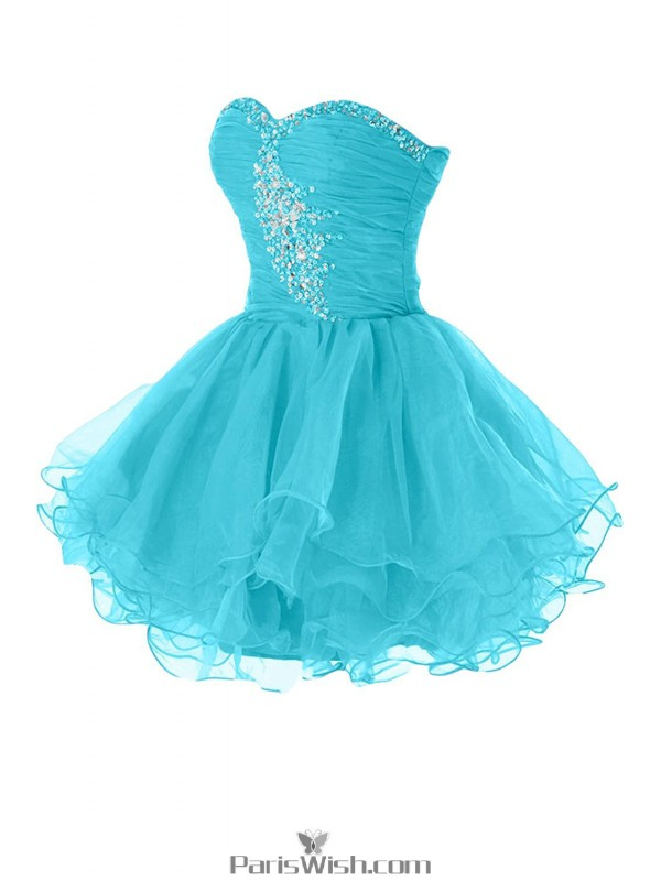 Tulle Pleated Blue Short Prom Dresses Plus Size Homecoming Dress