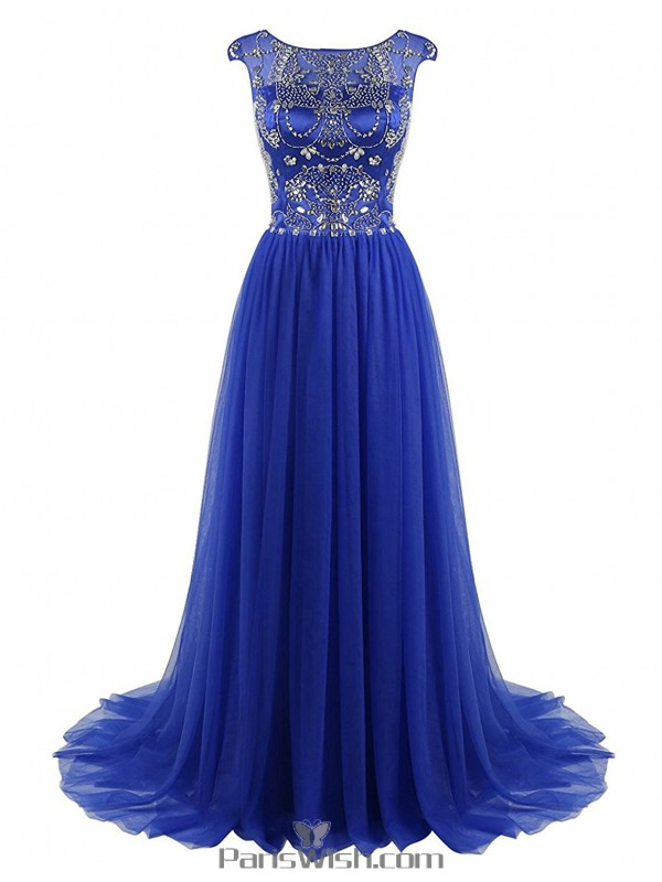 Tulle Satin High Neck Beaded Royal Blue Plus Size Prom Formal Dresses