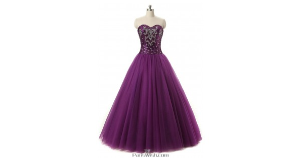 Tulle Sequin Rhinestone Purple Ball Gowns For Prom