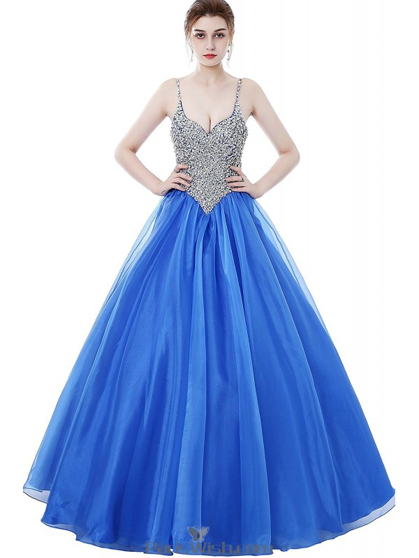 Tulle Spaghetti Sequin Bodice Blue Prom Gown Dresses With