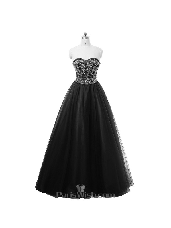 Tulle Strapless Ball Gown Black Beaded Plus Size Prom Dresses