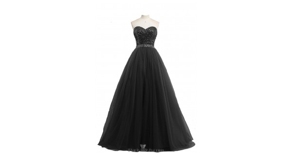Tulle Sweetheart Sequin Black Ball Gown Plus Size Prom Formal Dresses With  Sequin Top