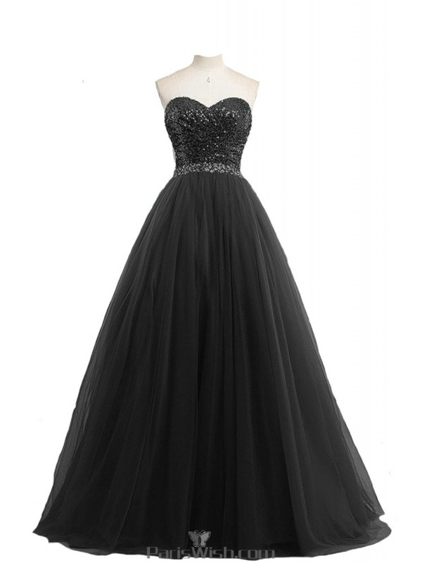 4c60653327e8 Tulle Sweetheart Sequin Black Ball Gown Plus Size Prom Formal Dresses With  Sequin Top