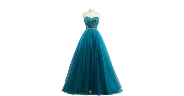 Tulle Sweetheart Sequin Teal Ball Gown Plus Size Prom Formal Dresses With  Sequin Top