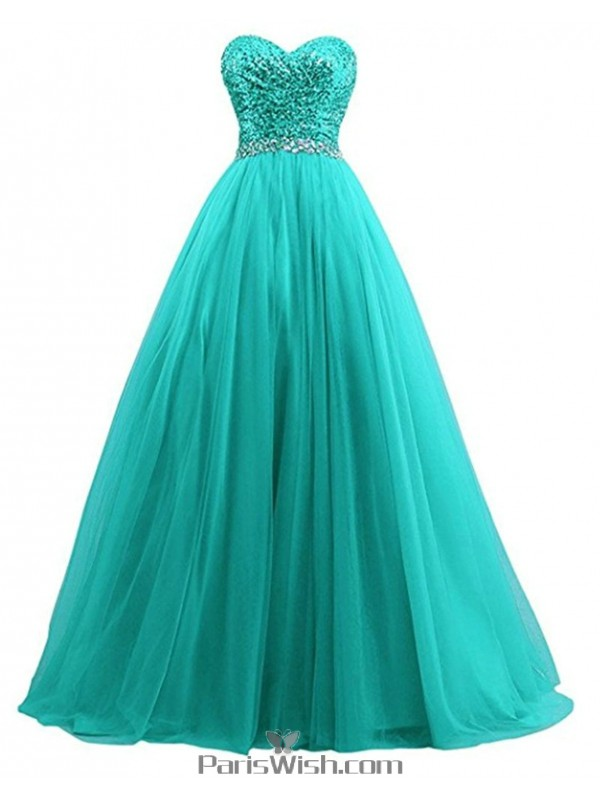 Tulle Sweetheart Sequin Teal Ball Gown Plus Size Prom Formal Dresses ...