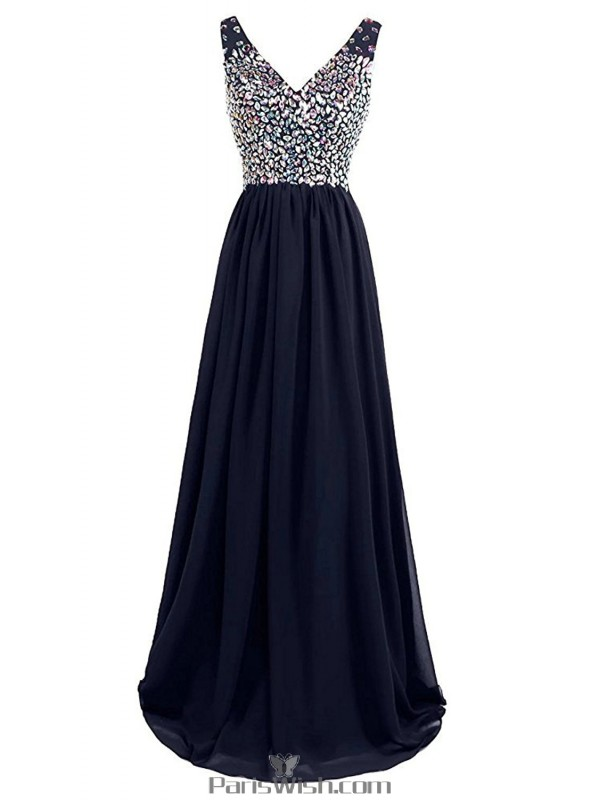 d11d7269f3 V Neck Chiffon Navy Blue Evening Prom Gowns With Rhinestone Top