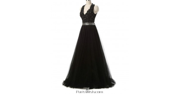 V Plunging Beaded Black Formal Prom Dresses With Cut Out Back