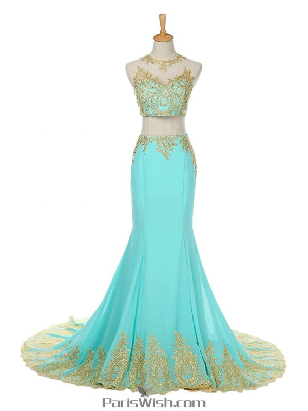 Chiffon Embroidered Mint With Gold Two Piece Prom Formal Dresses