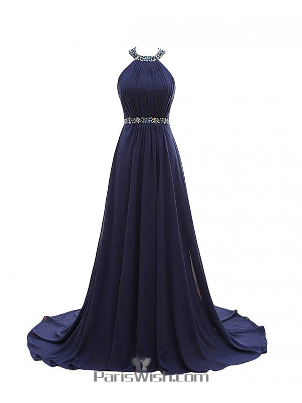 Crinkle Beaded Chiffon Long Navy Blue Plus Size Prom Formal ...