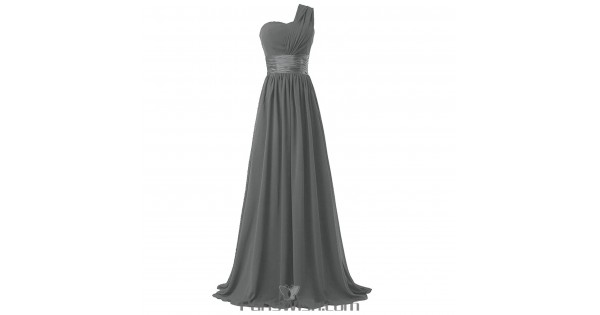 Crinkle Chiffon One Shoulder Plus Size Prom Grey Bridesmaid Dresses Under  100