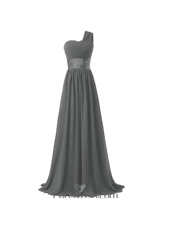 Crinkle Chiffon One Shoulder Plus Size Prom Grey Bridesmaid ...