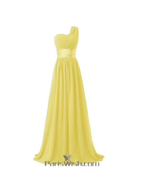 Crinkle Chiffon One Shoulder Plus Size Prom Yellow Bridesmaid