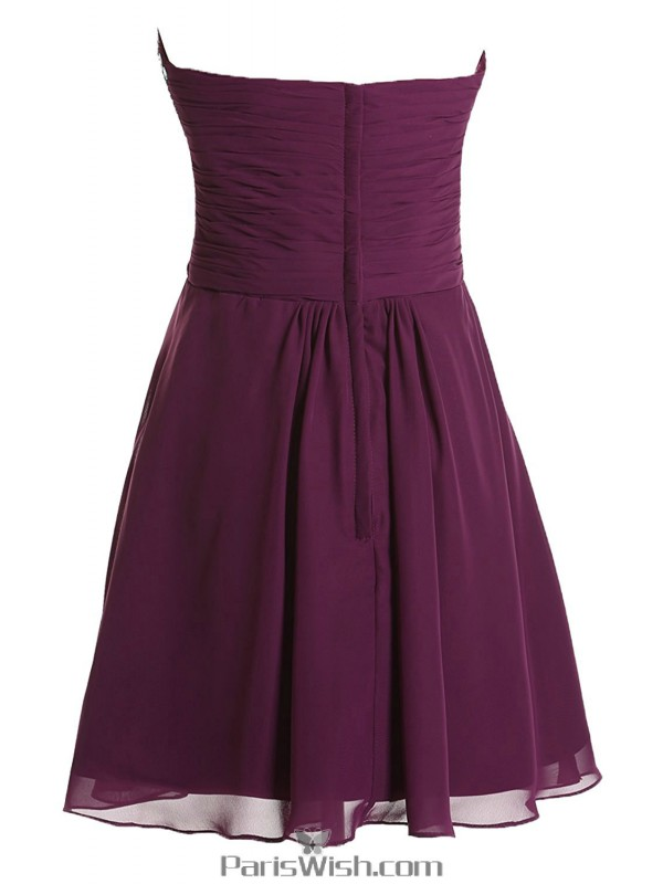 Pleated Chiffon Rhinestone Beaded Purple Cocktail Dresses Short Prom