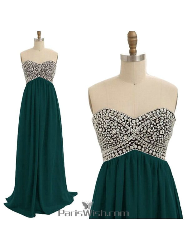 Sweetheart Beaded Plus Size Prom Dresses Hunter Green ...