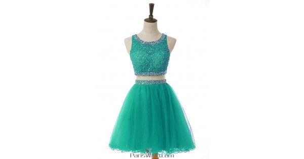 Tulle A Line Beaded Top Green Two Piece Homecoming Dresses Short ...