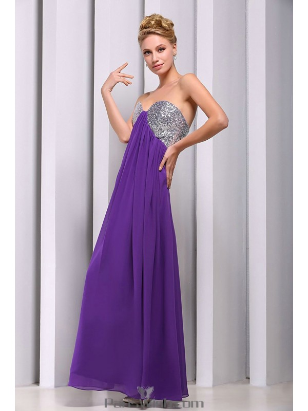 Chiffon Sequin Purple Maternity Prom Evening Gowns