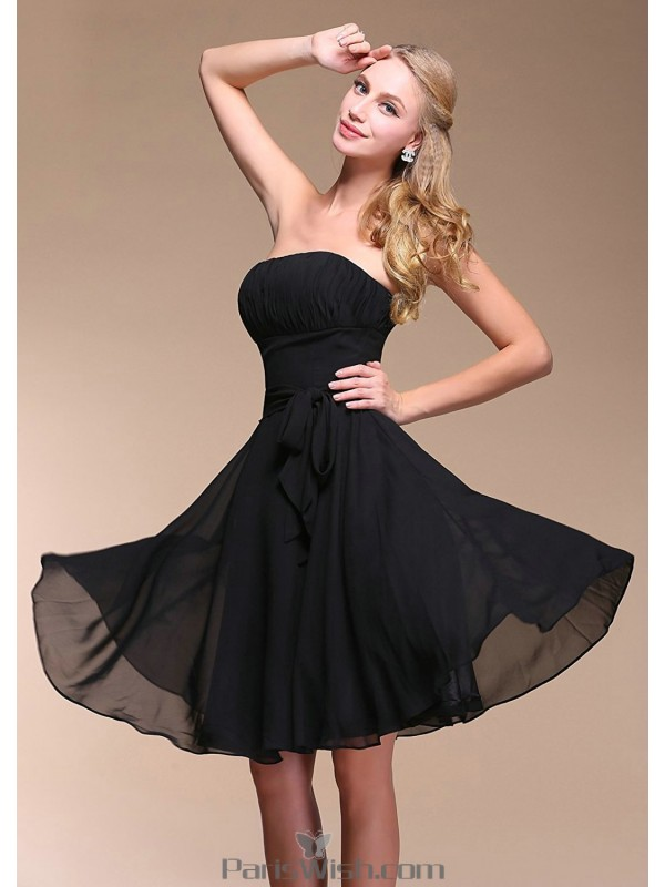 4a7f78c8ecf Knee Length Chiffon Strapless Black Short Bridesmaid Dress With Sash