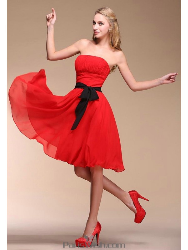 620445a6550 Knee Length Chiffon Strapless Red Short Bridesmaid Dress With Sash