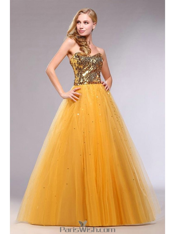 Strapless Tulle Sequin Gold Prom Formal Ball Gowns