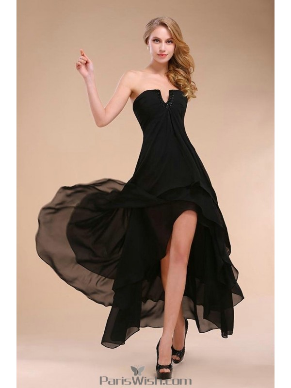 tiered chiffon strapless black prom dresses high low
