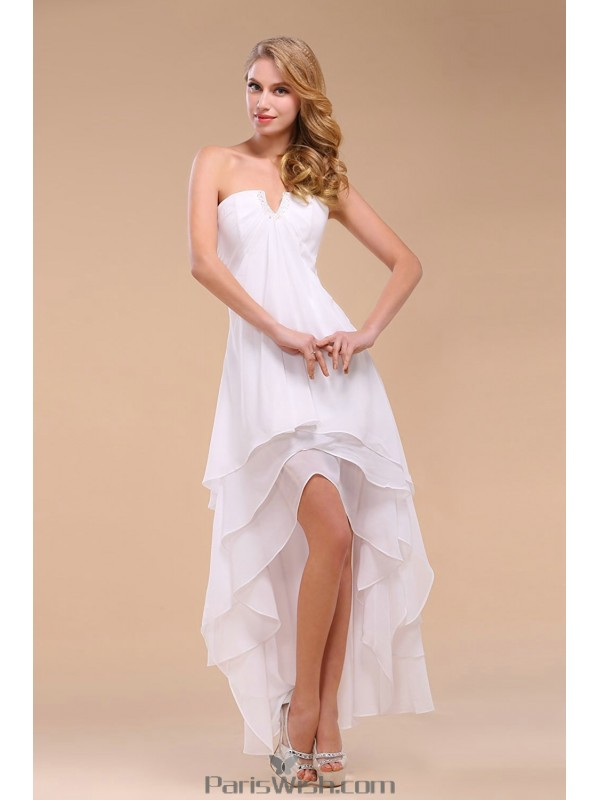 Tiered Chiffon Strapless High Low White Prom Dresses Beach Wedding Dress