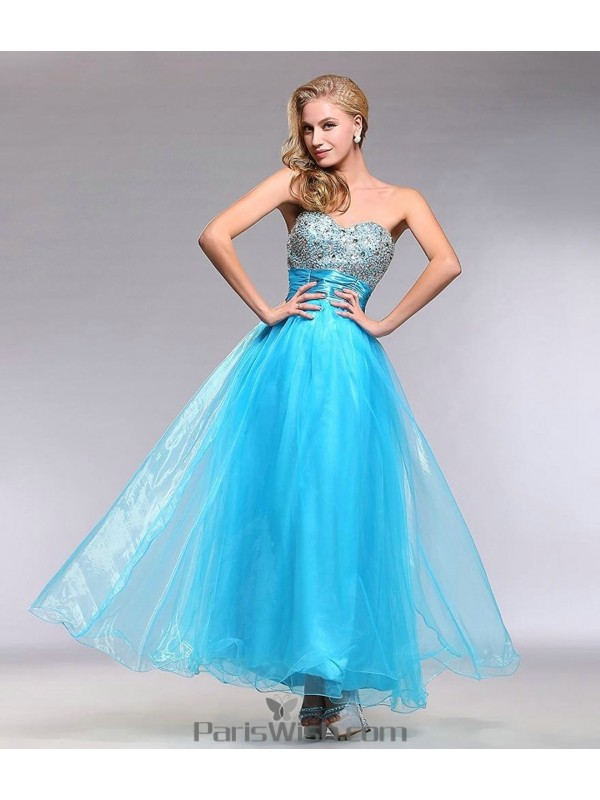 Tulle Beaded Strapless Blue Prom Formal Gowns With Sash
