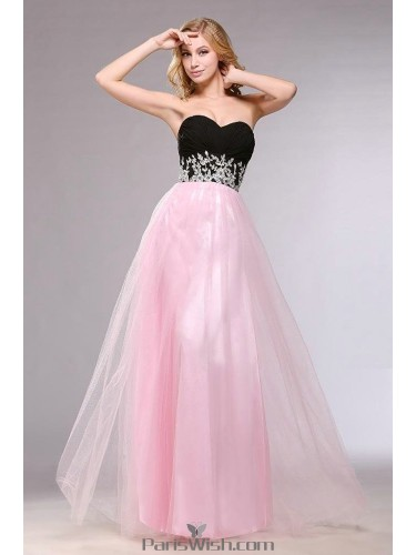 Tulle Taffeta Sweetheart Ball Gown Black And Pink Prom Formal Dresses