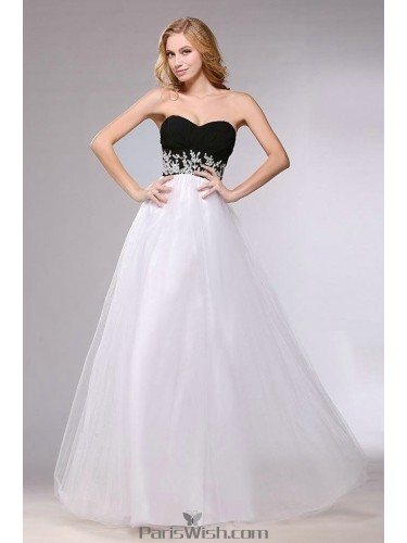 Tulle Taffeta Sweetheart Ball Gown Black And White Prom Formal Dresses