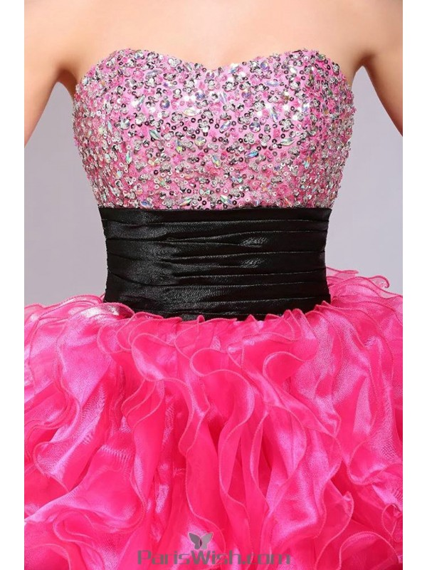 904c0f8797 Beaded Strapless Ruffled High Low Fuchsia Quinceanera Dresses With Black  Sash