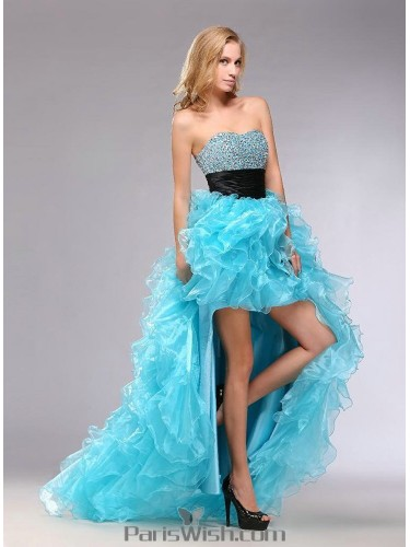 964fa10179 Beaded Strapless Ruffled High Low Quinceanera Dresses With Black Sash