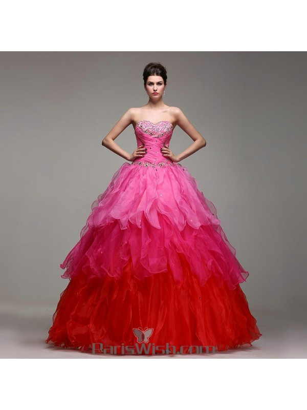 7ce1097cb59 Embroidered Beaded Pleated Ruffled Pink Rainbow Quinceanera Dresses