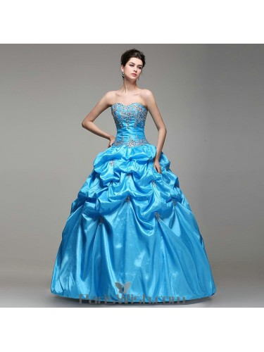 a4e4874b0b Embroidered Sequin Beaded Taffeta Blue Quinceanera Dresses With Pick Ups